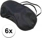 6x Slaapmasker met slapende oogjes zwart