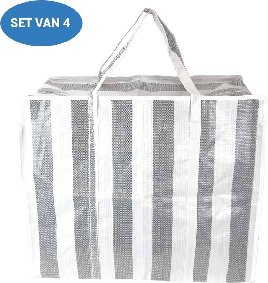 XL Opbergtas - Big Shopper - Reistas Extra Groot - Grote Booschappentas - 75 Liter - Grijs Wit - Set
