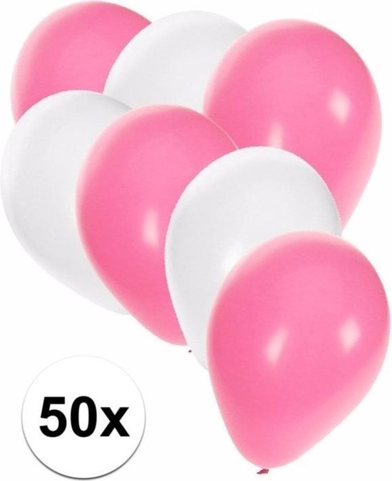 50x ballonnen wit en lichtroze - knoopballonnen