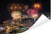 Vuurwerk boven de Zuid-Koreaanse stad Busan Poster 120x80 cm - Foto print op Poster (wanddecoratie woonkamer / slaapkamer) / Aziatische steden Poster