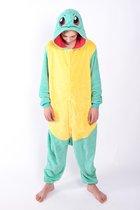 KIMU Onesie Squirtle Pokemon kinder pak schildpad - maat 146-152 - Pokemonpak jumpsuit pyjama festival