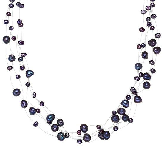 Valero Pearls Parel ketting Sterling zilver Gekweekte zoetwaterparels donkerblauw