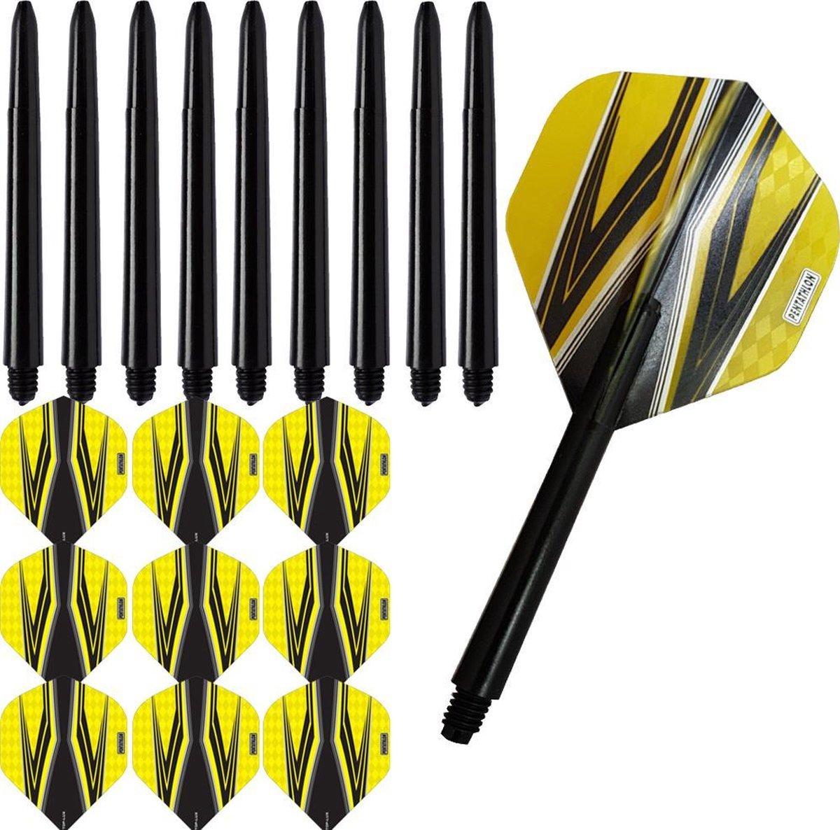 ABC Darts Flights Pentathlon - Dart flights en Medium Dart Shafts - Spitfire zwart geel - 3 sets