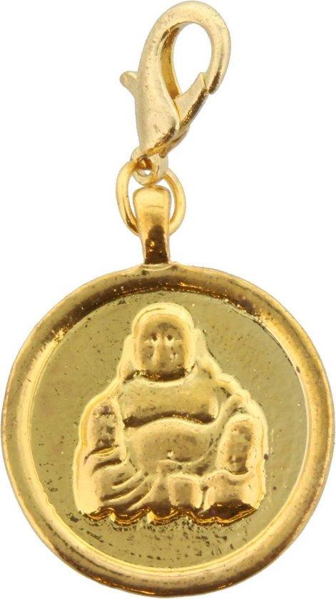 2-zijdige gouden munt/hanger met afbeelding van boeddha  voor bij bijpassende ketting. Doorsnede 3 centimeter.