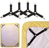 dekbed lakenspanner clips - laken aanspanners - laken bretels - 4 stuks zwart