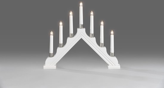 Konstsmide Kerstverlichting binnen - Kerstkandelaar wit gelakt hout 7 lampjes - 39x34 centimeter - Warm wit