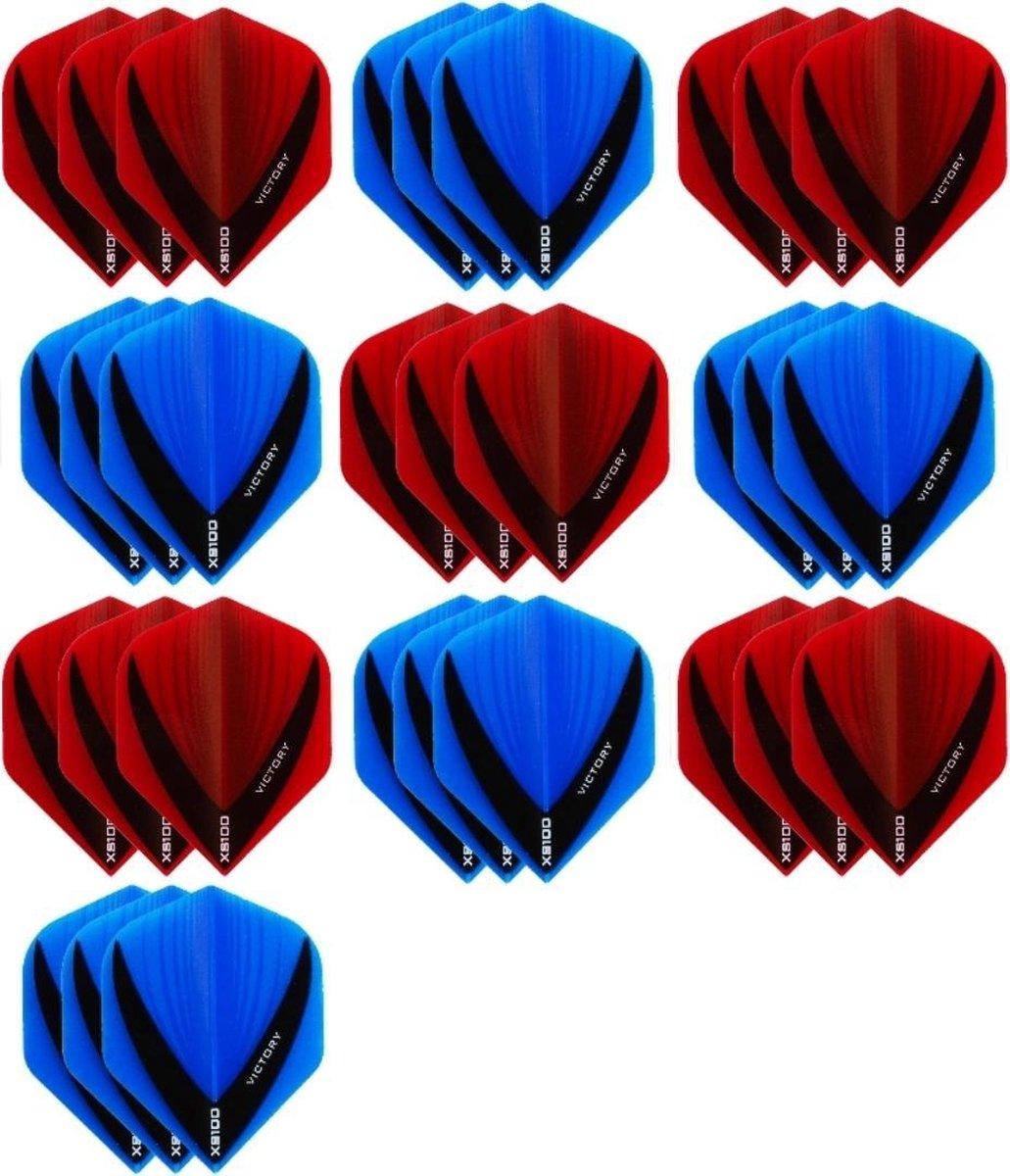 10 sets (30 stuks) - XS100 Vista flights - duo kleur pakket - Aqua/Blauw en Rood - flights - dartflights