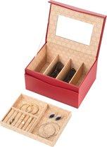 Treasury Magnetic Sieradendoos - Luxe Juwelendoos met spiegel - Opbergbox kunstleder - Rood