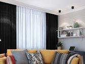 Home of Curtains LEMONI - Gordijn - Met Plooiband - Verduisterend - 150x260 cm - Zwart - 1 Stuk