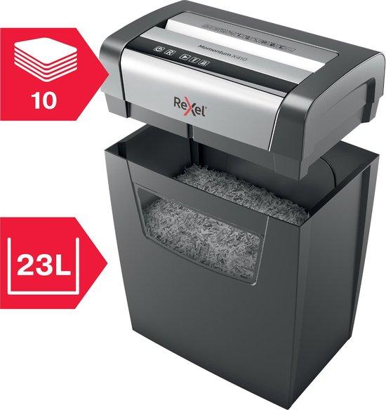 Rexel Stille Papierversnipperaar Momentum X410 Voor Thuiskantoor/Thuiswerkplek -  P- 4 Snippers - Tot 10 A4-Vellen - Vernietigt Documenten Met Nietjes En Paperclips - Opvangbak van 23 liter - Zwart