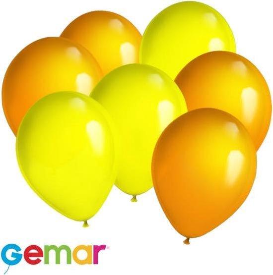 30x Ballonnen Oranje en Geel (Ook geschikt voor Helium)
