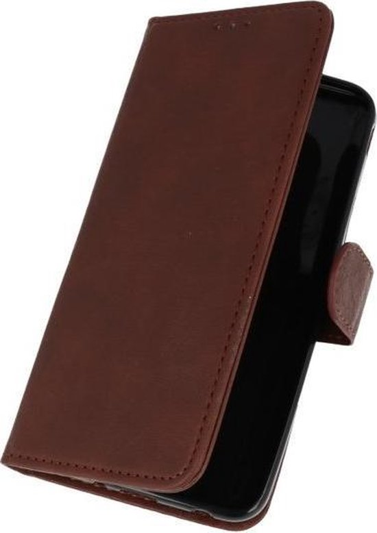 Donker Bruin booktype wallet case Hoesje voor Samsung Galaxy J7 2018