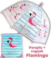 Paraplu Flamingo + rugzak meisjes | doorzichtige koepelparaplu Ø70cm kind | gymtas US02