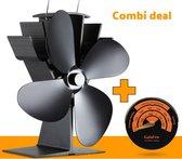 GalaFire N429 kachelventilator origineel - COMBI DEAL met thermometer - duurzaam Ecofan - Warmte aangedreven aluminium ventilator voor houtkachels en gaskachels - zwart