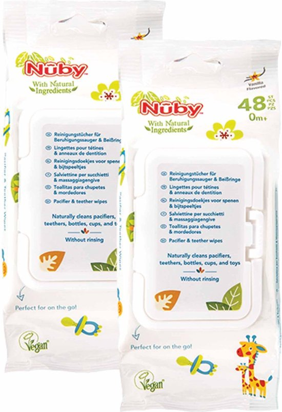 Nûby - Vochtige doekjes voor Fopspenen en Bijtringen - 2x48 doekjes