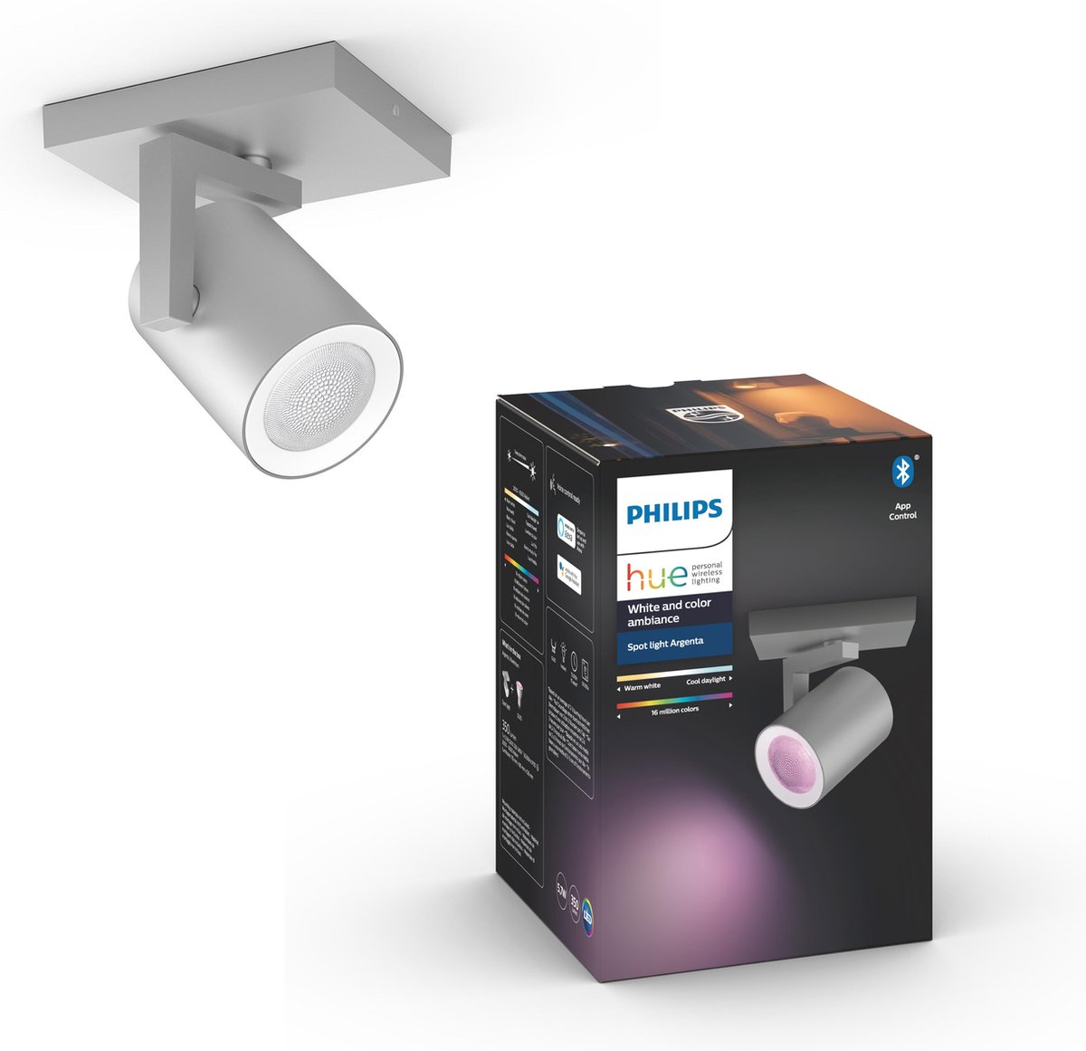 Philips Hue - Argenta - White and Color Ambiance - opbouwspot - 1 lichtpunt - aluminium - Bluetooth