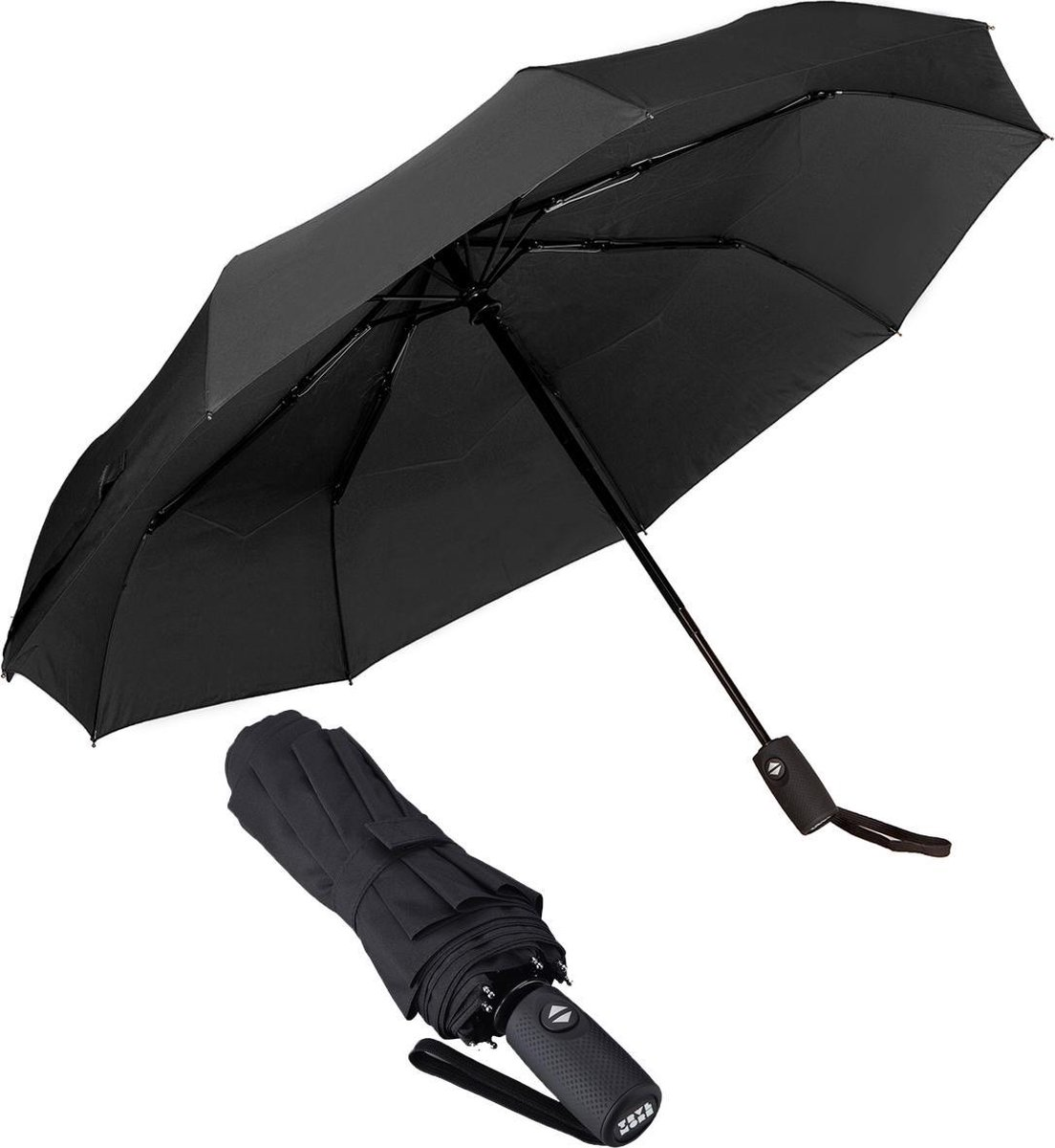TravelMore Automatische Stormparaplu – Opvouwbaar & Windproof tot 100km p/u - Ø 107 cm - Zwart