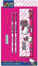 Hello Kitty 5-delige tekenset - Pennenblik + potloden