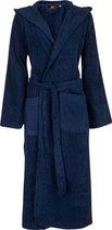 Unisex badjas marineblauw - badstof katoen - sauna badjas capuchon - maat L/XL