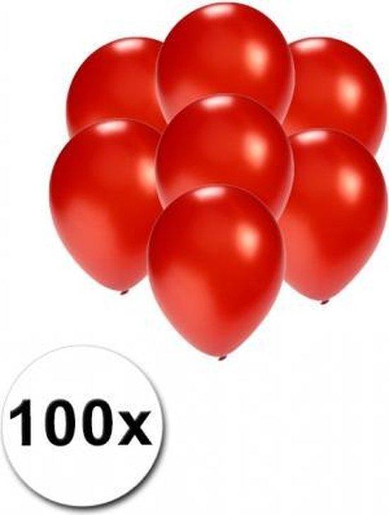 Kleine ballonnen rood metallic 100 stuks