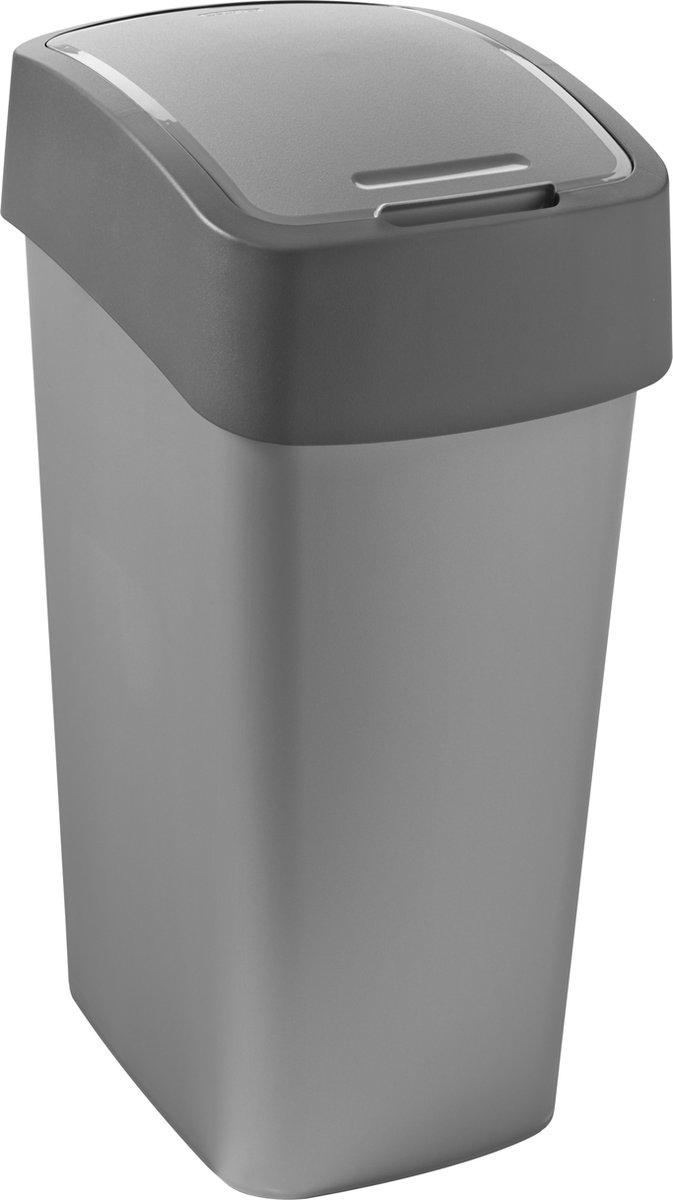 Curver Pacific Flip Bin - Prullenbak - 45 Liter Inhoud - Zilver / Antraciet