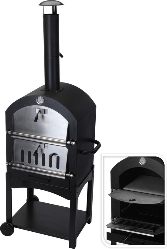 MaxxGarden Pizza oven - Smoker barbecue houtskool 45 x 65 x 158cm