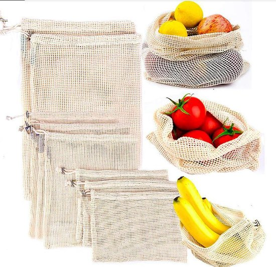 Own Commerce - Groente En Fruit Zak - Eco-friendly - Herbruikbare Boterhamzakjes - Katoenen Zak - Stevig Materiaal - Zero Waste