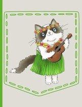 Hawaiian Cat Playing Guitar Pocket