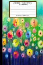 Unruled Composition Notebook 6 X 9. 120 Pages. Floral Watercolor Painting