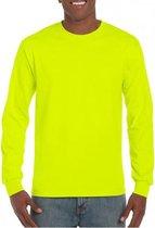 Heren t-shirt lange mouw lichtgevend geel 2XL