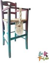 Bee on the Loose - Bohemian Macrame Kinderstoel 'Roshni' donker roze-turquoise