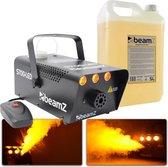 Rookmachine - BeamZ S700 rookmachine met vlameffect + volle tank en 5 liter extra rookvloeistof