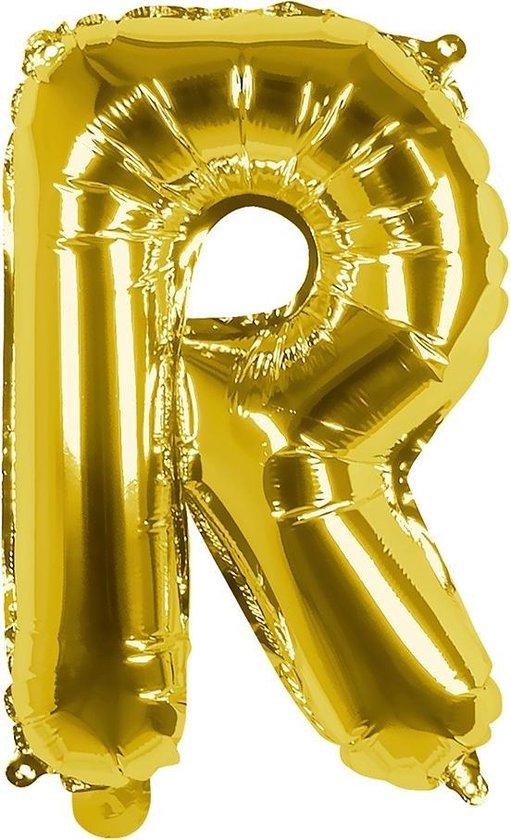 Boland Folieballon Letter R 36 Cm Goud