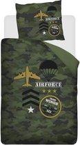 Snoozing Airforce - Dekbedovertrek - Eenpersoons - 140x200/220 cm + 1 kussensloop 60x70 cm - Groen