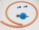 Gasslang installatieset drukregelaar + 1.5 meter slang + 2 slangklemmen