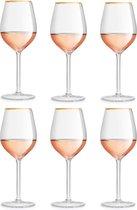 Libbey Wijnglas Atlin - 380 ml / 38 cl - 6 stuks - gouden rand - klassiek - feestelijk