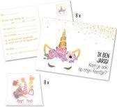 Verjaardag uitnodigingen unicorn – uitnodigingskaarten eenhoorn – traktatiezakjes - verjaardagsfeest thema unicorn