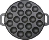 Dobeno Klassieke Poffertjesplaat - Gietijzer - Voor 15 poffertjes - Zwart