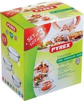 Pyrex Optimum Ovenschalenset 1,4 l - 2,1 l - 3 l - 21 x 18 x 8 cm - 24 x 20 x 10 cm - 27 x 23 x 11 cm