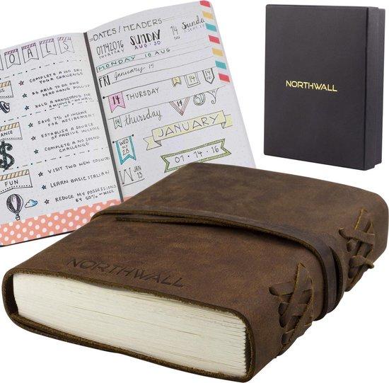 Northwall Leather bullet journal - 100% Buffel Leer - Dagboek met 240 Dotted Pagina's (120 vellen)- Vintage Lederen Notitieboek - Prachtig Schetsboek in Cadeau Verpakking