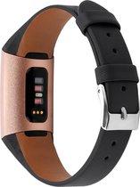 Bandje leer zwart classic geschikt voor Fitbit Charge 3 / Charge 4