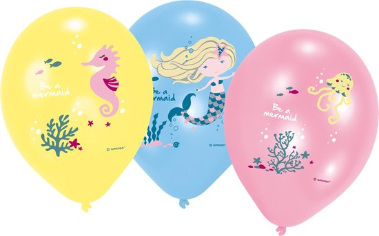 Amscan Ballonnen Zeemeermin Meisjes 28 Cm Latex 6 Stuks