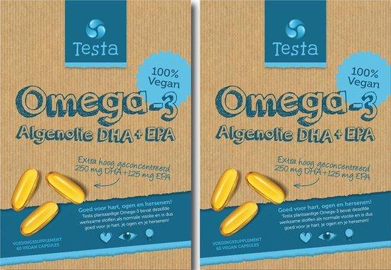 Testa Omega 3 Algenolie. Hoogste concentratie Vegan Omega-3 DHA + EPA. 120 Capsules - Plantaardig Voedingssupplement