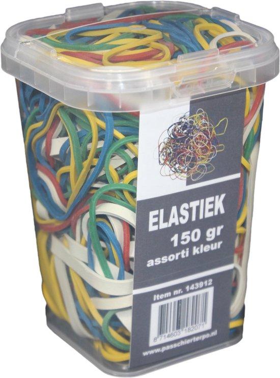 150 gram - Elastiek - assorti kleur - assorti maat - in plastic pot - PasschierTerpo