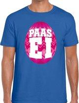 Blauw Paas t-shirt met roze paasei - Pasen shirt voor heren - Pasen kleding 2XL