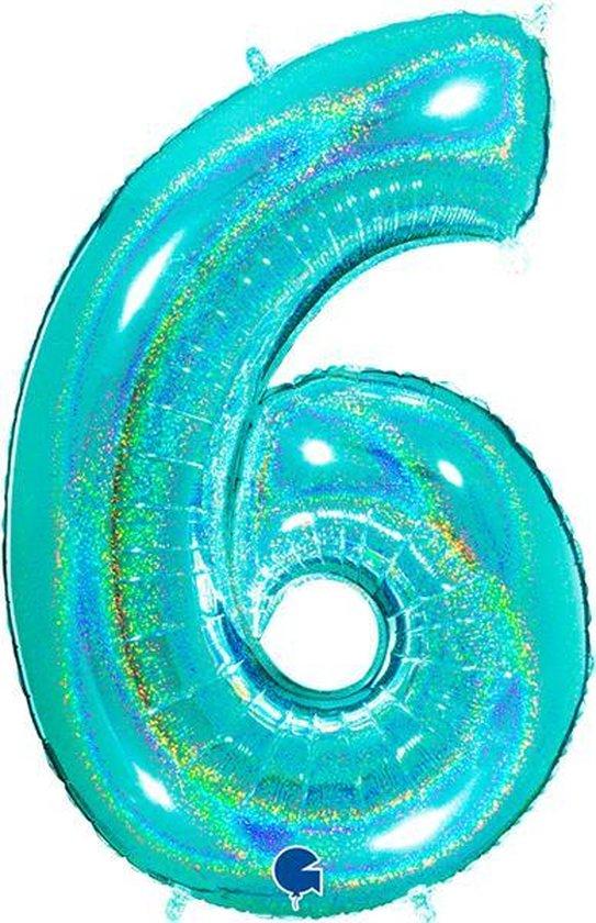 Cijfer 6 Glitter Tiffany Blue (102cm)