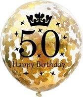 50 Jaar Ballonnen Set - Confetti - 5 stuks - Verjaardag Feest - Versiering - Goud - 30cm