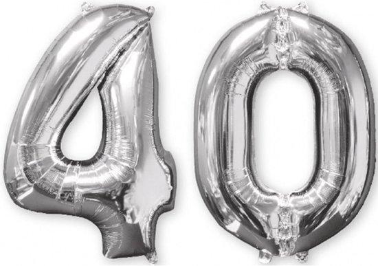 Set van 2 zilverkleurige 40 jaar ballonnen - Feestdecoratievoorwerp