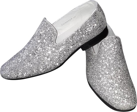 Toppers, heren glitter schoen, zilver