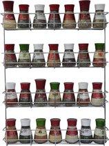 KitchenBrothers Ophangbaar Kruidenrek voor 32 Kruidenpotjes - 4 Laags - 40 x 6.3 x 50 cm - RVS